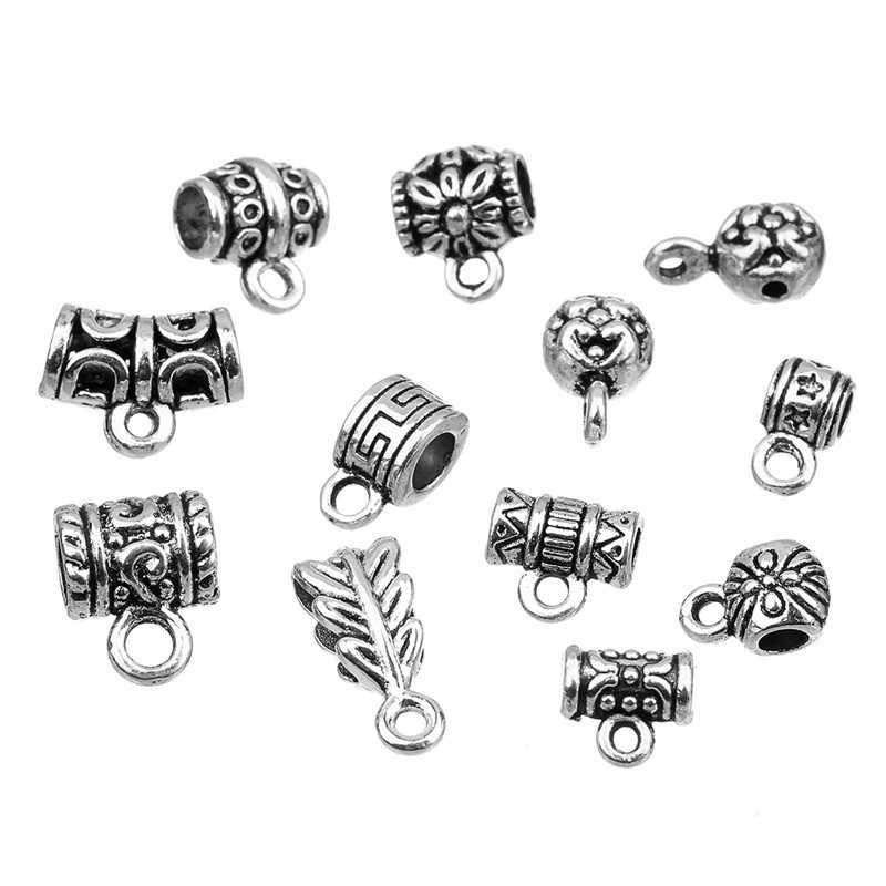 20 pçs/saco Antigo Cor Prata Bail Beads Para Pulseiras Conectores Colar De Pingente Para Jóias DIY Fazendo Acessórios F800