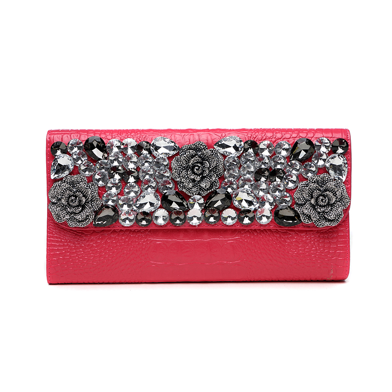 Noble Womens Banquet Diamond Rose Clutch Wallet Ladies Long Purse Shoulder Bag Handbag Alligator Genuine Leather Clutches Red vintage serpentine genuine leather woman clutches evening bag crossbody chain shoulder bag handbag clutch wallet lady long purse