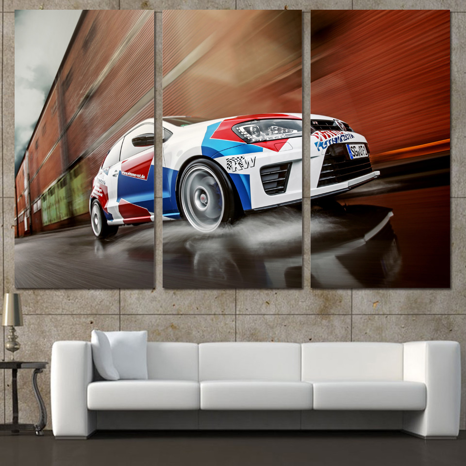 3 Panels Canvas Art Sports Car Sd Racing Home Decor Wall Painting Prints Pictures For Living Room Poster