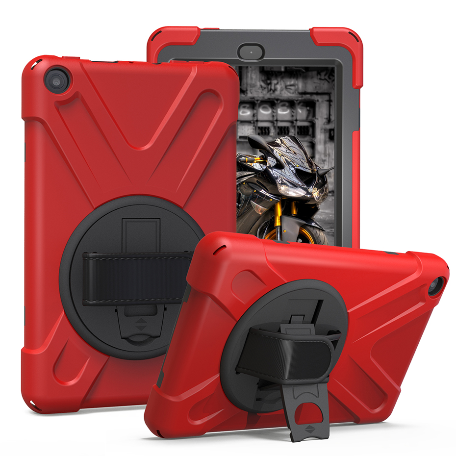 360 Rotating Kickstand Case For Amazon Kindle Fire HD 8 2017 2018 HD8 Hand Strap Shockproof Soft Silicone Protective Case Cover