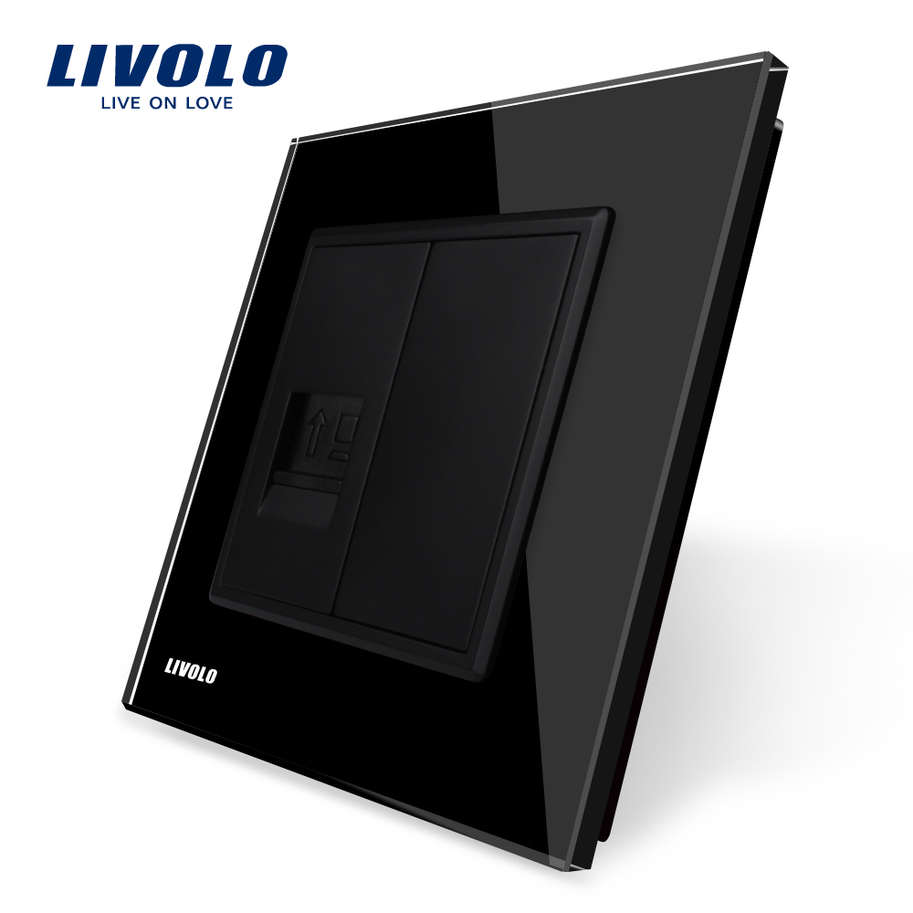 Livolo EU syandard Black Crystal Glass Panel, One Gang Computer Socket / Outlet VL-C791C-12, Without Plug adapter