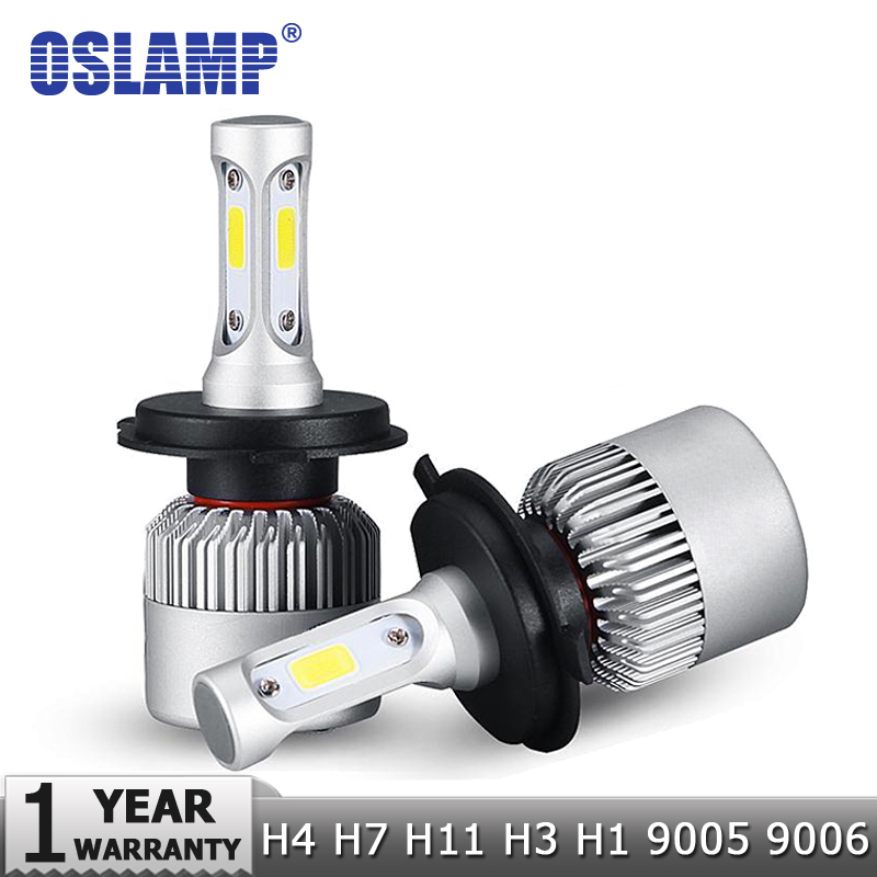 Oslamp H7 H11 H1 H3 9005 9006 COB Mobil LED Headlight Bulbs H4 Hi-Lo Beam 72W 8000LM 6500K / 4300K ​​Auto Headlamp Led Light Mobil 12V