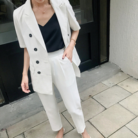 Summer Two Pieces Sets White Short Sleeve Double Breasted Blazers with Pants Casual Office Ladies Korean Women Suits 2019 New