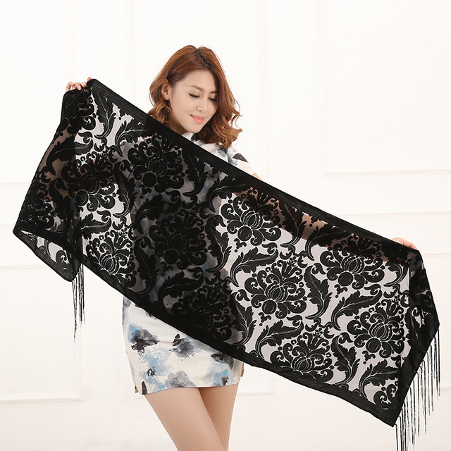 2020 New Solid Color Floral Print Long Scarf Winter Burnout Velvet Hijab Head Scarf  Shawl Poncho Women Fashion Gift For Lovers 1