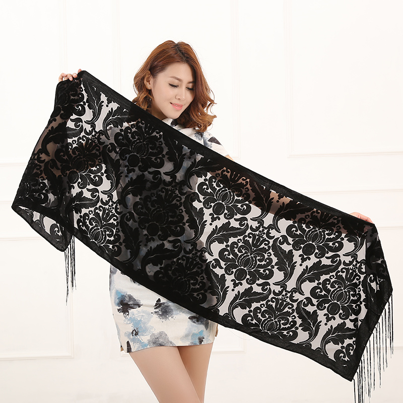 2017 New 10 Color Floral Print Long Scarf Winter Burnout Velvet Shawl Poncho Women Fashion Gift For Lovers Free Shipping