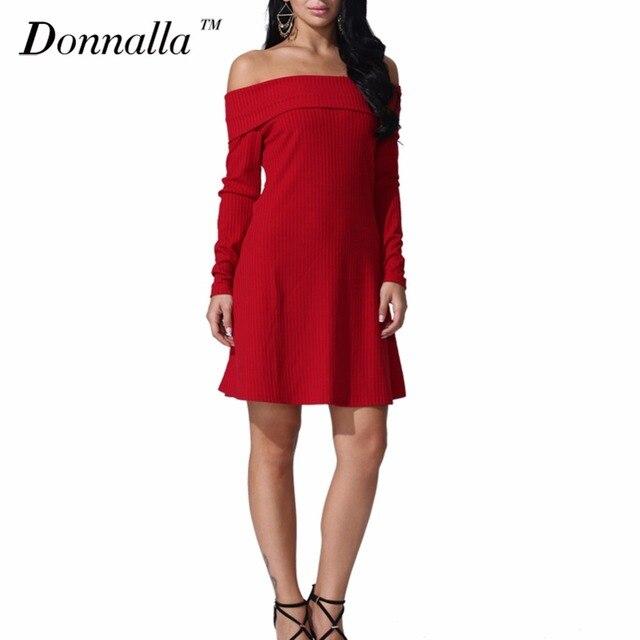 Donnalla женщины dress длинным рукавом с плеча slash шеи сексуальная клуб женщины dress тонкий bodycon трикотажные свитера платья night party