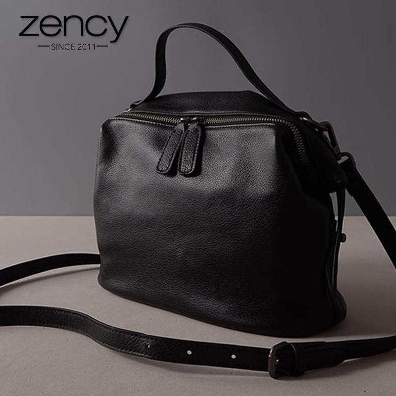 Zency Retro Schwarze Frauen Handtasche 100% Echtes Leder Dame Lässig - Handtaschen