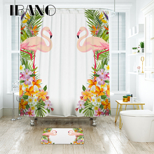 IBANO Flamingo Pattern Waterproof Polyester Fabric Curtain for The Bathroom Accessories Home Decor Shower Curtain Wholesale цена 2017