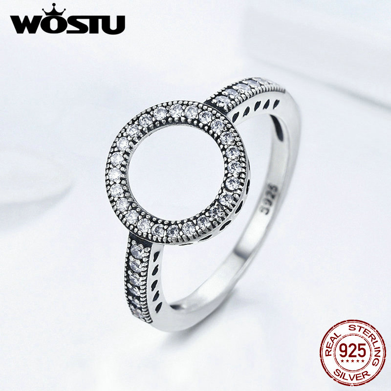 Image 2 - WOSTU 2019 Hot Sale Real 925 Sterling Silver Round Rings Lucky Circle Finger Rings For Women Fashion Wedding Jewelry FIR041-in Rings from Jewelry & Accessories