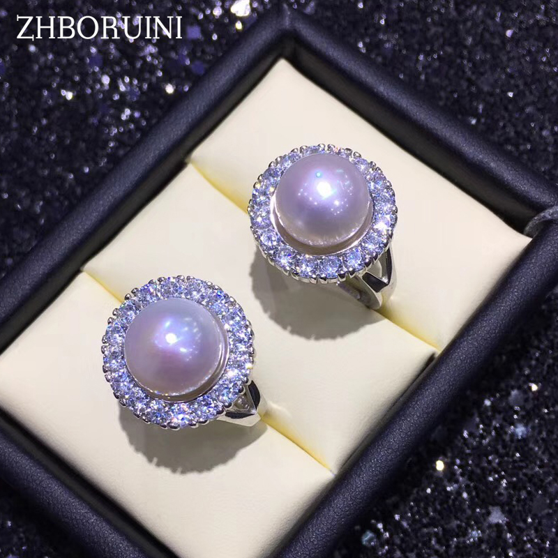 ZHBORUINI 2019 Fashion Pearl Ring Zircon Ring Natural Freshwater Pearl Rings 925 Sterling Silver Big Ring Jewelry For Women Box