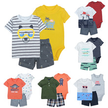 цена на BABY BOY summer CLOTHES SET cotton short sleeve hooded shirt pant rompers newborn infant toddler outfits unisex kids clothing