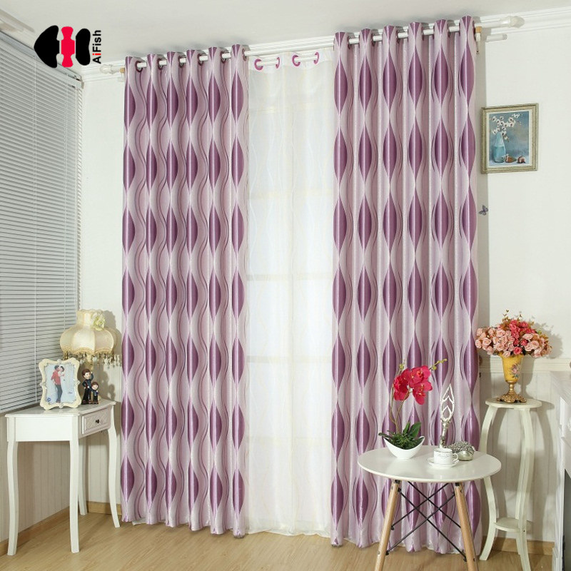 Modern Simple Geometric Stripe Jacquard Curtains Blackout Shading Double Sided Thick Curtain Wedding Bedroom Drapes WP390C
