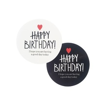 80 Pcs/lot 'HAPPY BIRTHDAY' Scrapbooking Kraft Paper Labels Envelopes Stickers Gift Packaging Seals Sticker 2 Color For Birthday