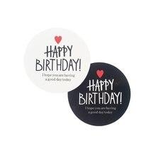 Étiquettes autocollantes en papier Kraft «joyeux anniversaire», 2 couleurs, pour Scrapbooking, emballage cadeau, sceaux, 80 pièces/lot