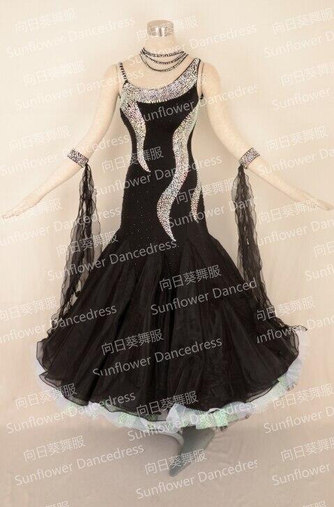 NEW Standard Dance Dress,ballroom Dance Competition Dresses,womens  Dance Dresses,modern Dance Skirts,black Color,Sunflowerdress
