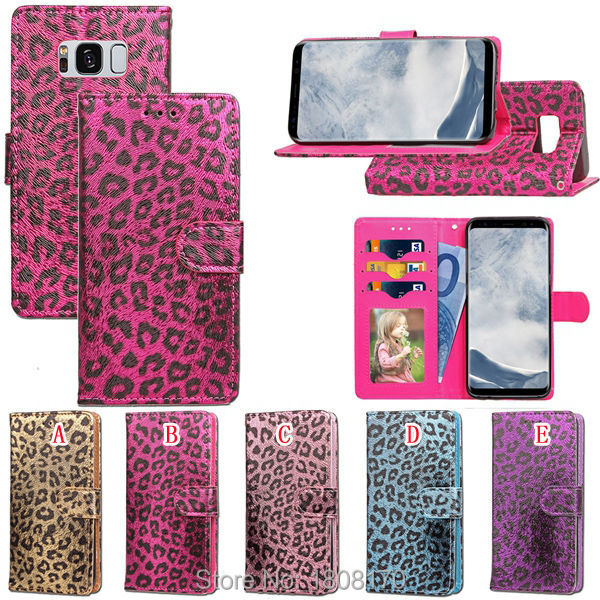 Leopard Wallet Leather Case For Samsung Galaxy S8 Iphone 7 Plus 6 6S Iphone7 Photo Frame Cards Stand Pouch TPU Phone Cover 50pcs
