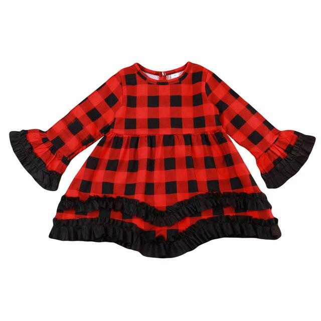 982887e161439 赤ちゃん幼児子供女の子服赤黒チェック柄ドレス長袖かわいいチュチュプリンセスクリスマス服ドレス