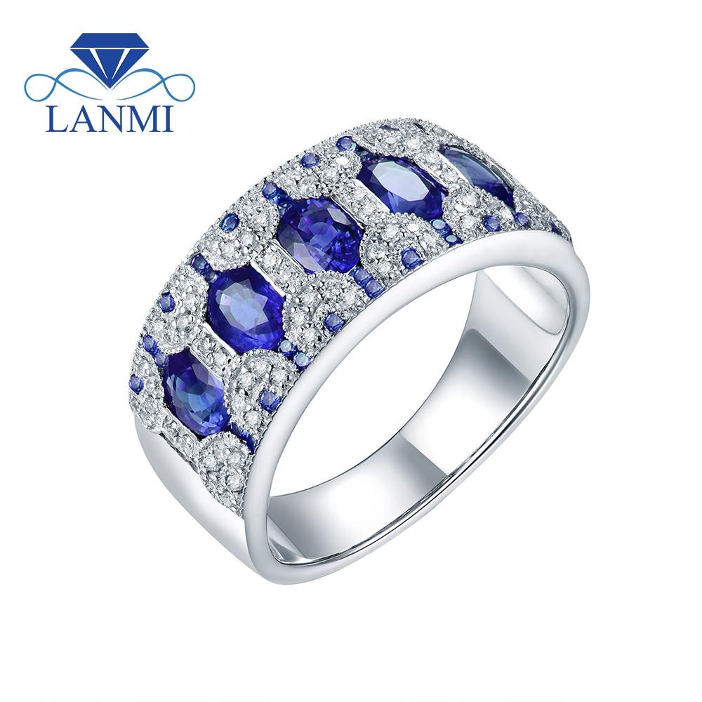 Saphir ovale naturel émeraude rubis pierres précieuses anneaux de mariage pour les femmes 14k solide or blanc diamant fiançailles empilable anneau de bande