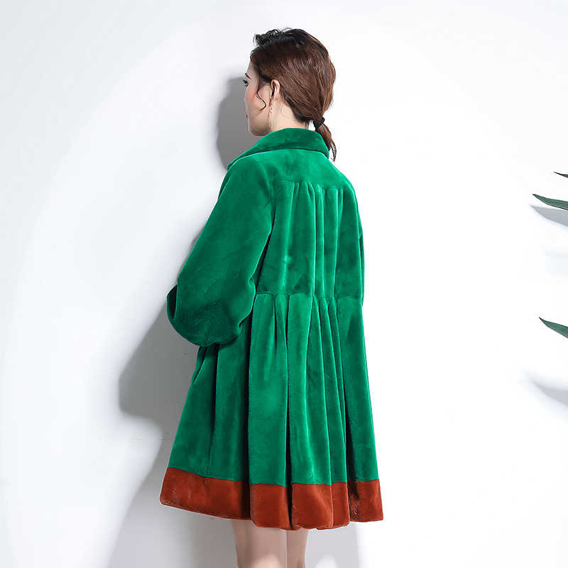 Nerazzurri Đường Băng faux áo khoác lông thú 2019 phụ nữ chất lượng cao xếp li màu khối đầy đủ váy cộng với kích thước dài tay áo giả lông thú áo khoác