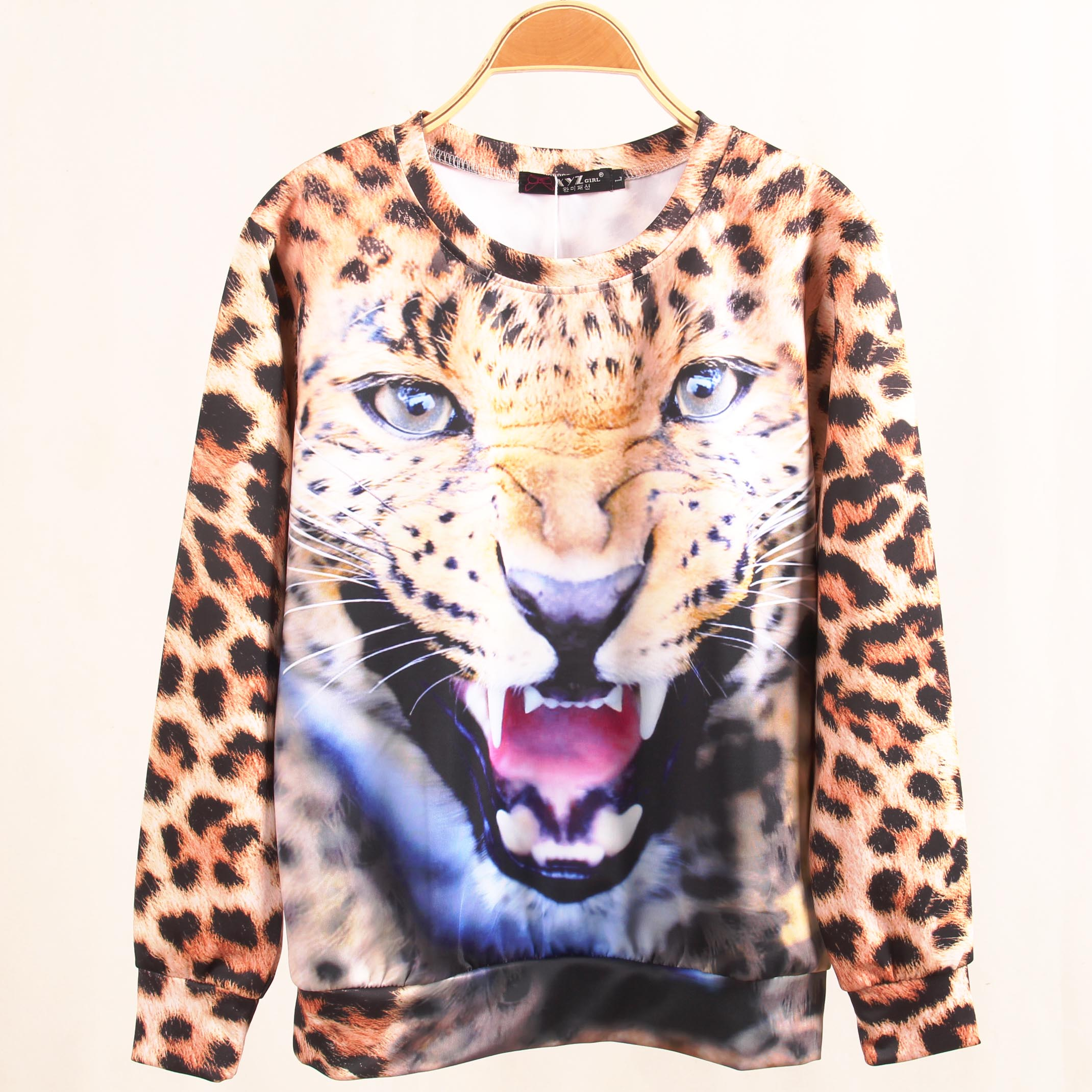 ff752c99b045 Hot selling 2014 new arrival fashion 3d lion leopard print hoodies women's  pullover o neck sweatshirt plus size free shipping-in Hoodies & Sweatshirts  from ...