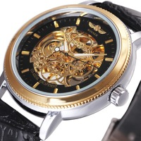 WINNER Top Brand Luxury Men Mechanical Watch Leather Strap Golden Skeleton Dial 3D 4 Ring Icon