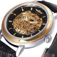 WINNER Top Brand Luxury Men Mechanical Watch Leather Strap Golden Skeleton Dial 3D 4 Ring Icon