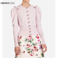 Cosmicchic Haute Couture Women Knit Cardigan Rose Buttons Runway Spring Summer Wool Cardigan Sweater Rebecas Mujer