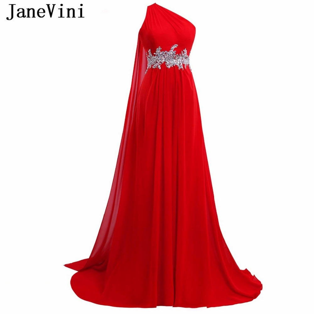 JaneVini Red Chiffon Long   Bridesmaids     Dresses   with Lace Appliques Crystals One Shoulder Backless Sweep Train Maid of Honor Gowns