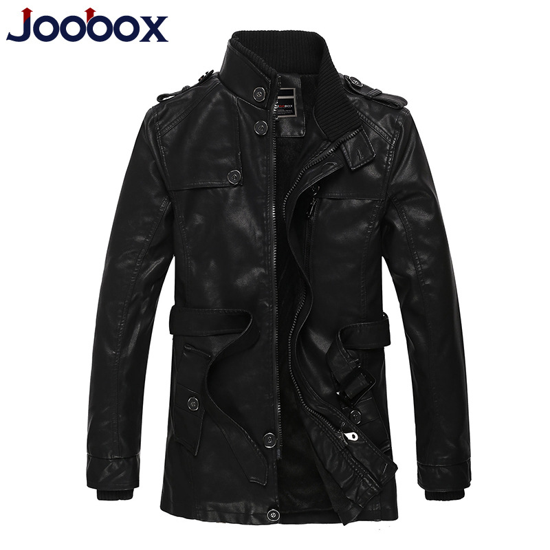 JOOBOX Brand 2017 Fashion long Winter Leather Jacket Men Slim Warm thicker Faux Leather PU Coat Top Quality Wool Liner outerwear