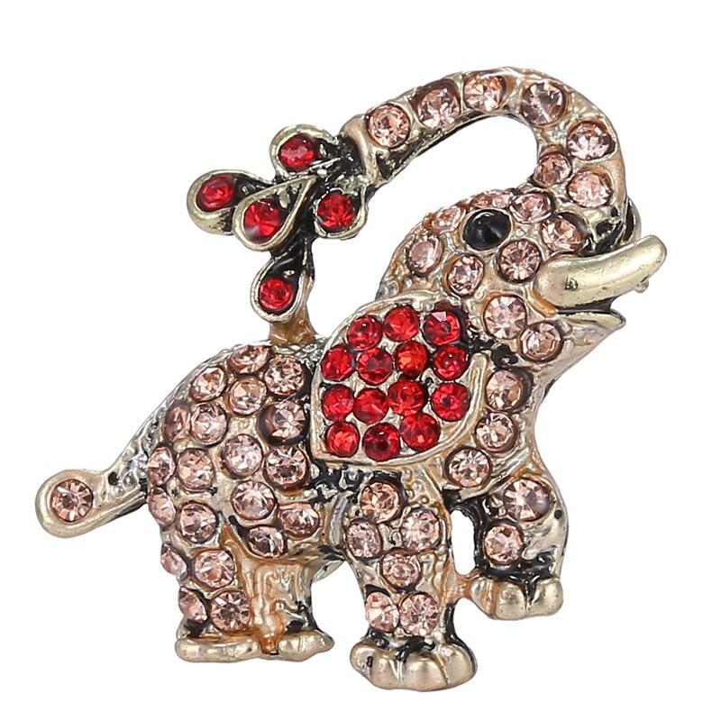 Trendy Small Elephant Brooch Pin Crystal Rhinestone