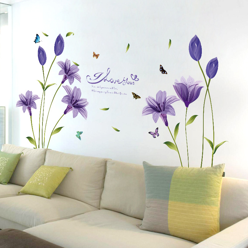 Purple Romantic Big Flower Wall Stickers Home Decor: Purple Lily Flower Wall Stickers Living Room Bedroom