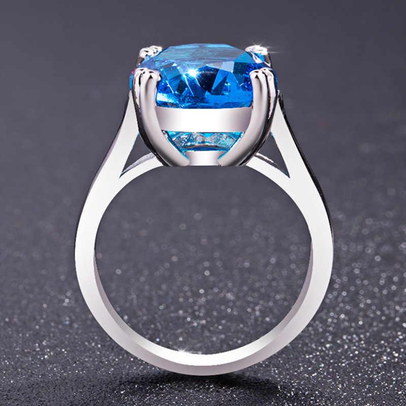 2 สี 925 เงิน Solitary หินแหวนกว้างแหวนหมั้น CZ งานแต่งงานแหวนของขวัญโรแมนติกเครื่องประดับสำหรับสตรี