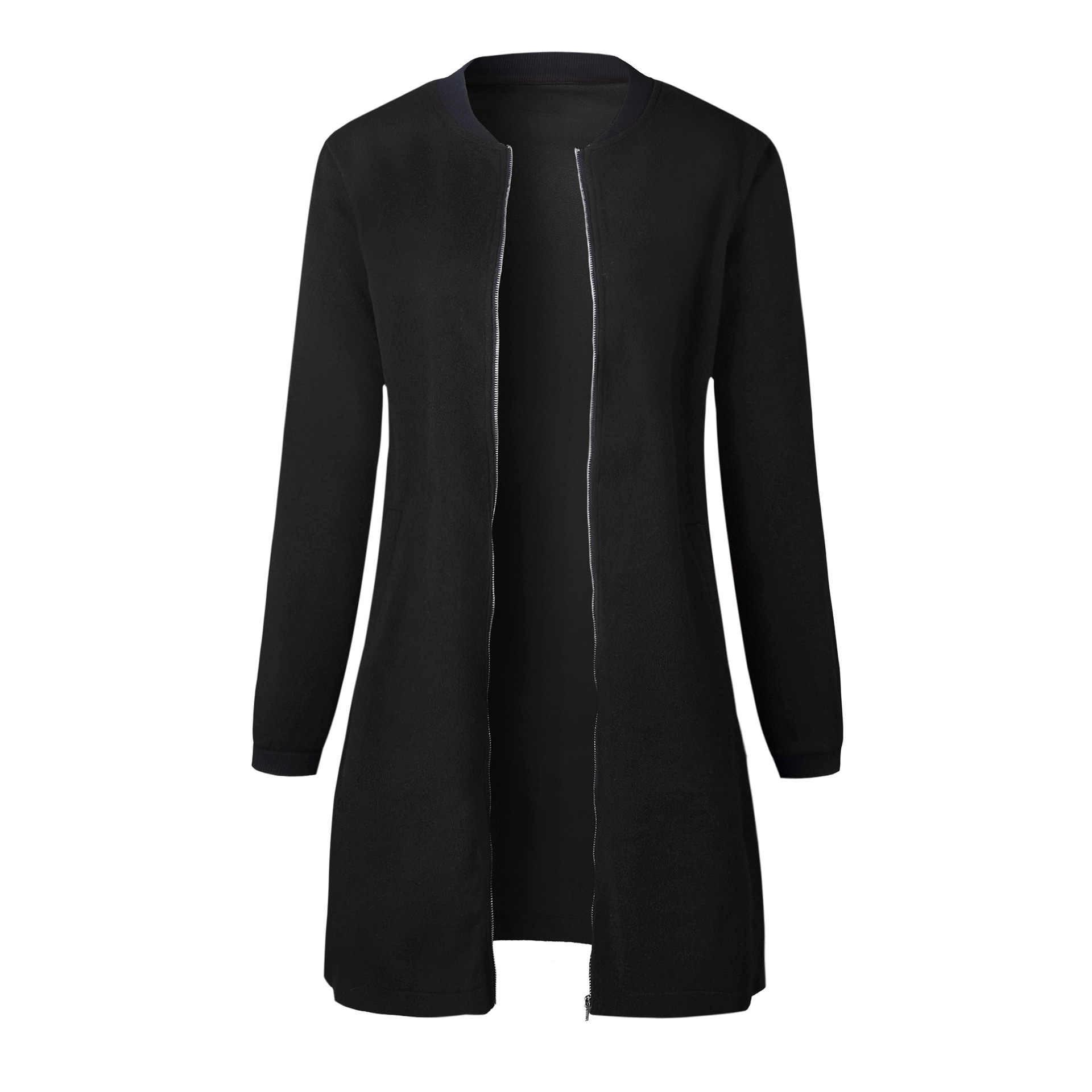 Женская Повседневная Весенняя верхняя одежда 2018 черного и серого цвета, теплое пальто, женское длинное пальто с круглым вырезом и воротником