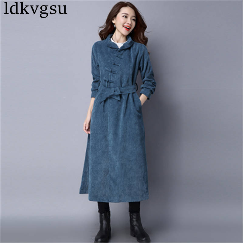 2019 New Spring Autumn Long Trench Coats Women Ethnic Style Women s Loose Corduroy Belt Disc