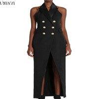 LXUNYI Runway Dresses 2017 Women High Quality Double Breasted Slim Backless Maxi Dress Women Summer Sleeveless
