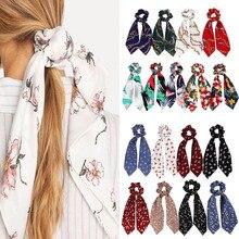 Цепочка в богемном стиле, цветочный принт, конский хвост, шарф с бантом, эластичная резинка для волос, резинки для волос, резинки для волос, горячая распродажа, элегантные ленточные резинки для волос для женщин и девушек