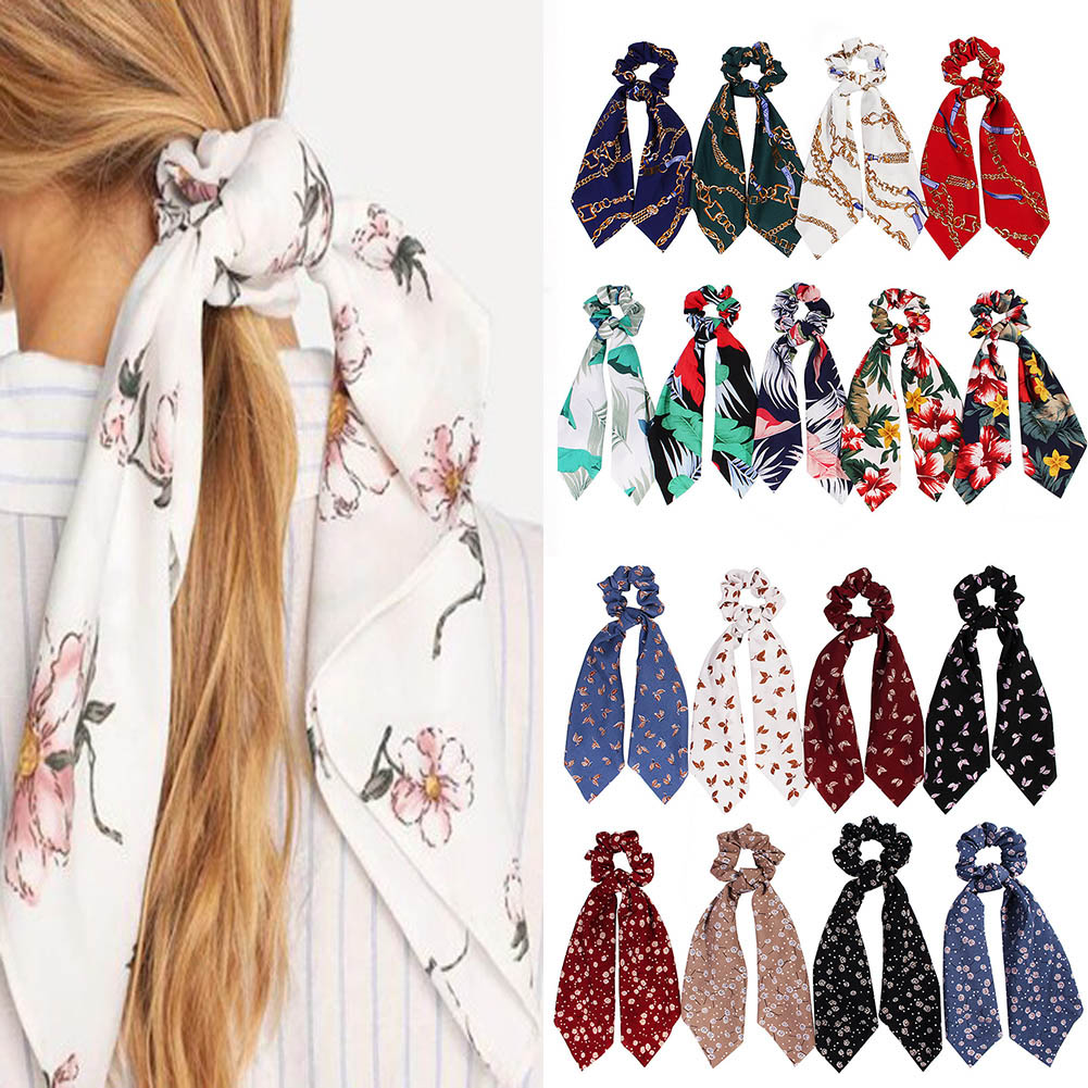2019 Boho Chain Floral Print Ponytail Scarf Bow Elastic Hair Rope Ties Scrunchies Hot Sale Women Girls Elegant Ribbon Hair Bands