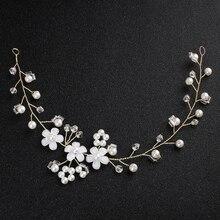 Ldies Pearl crystal resin flower headdress Bridal Flower Rhinestone Headband Wedding Party Crown Headdress for Girls