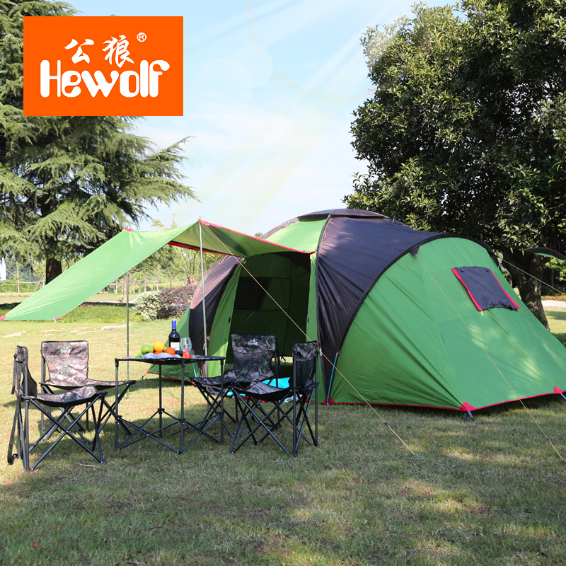 4-6 Person Outdoor Travel Tent Double Layer UPF50+ Camping Hiking Tent Family Party Beach Travel Camping & Hiking Tents outdoor double layer camping tent family tent 3 person beach garden picnic fishing hiking travel use