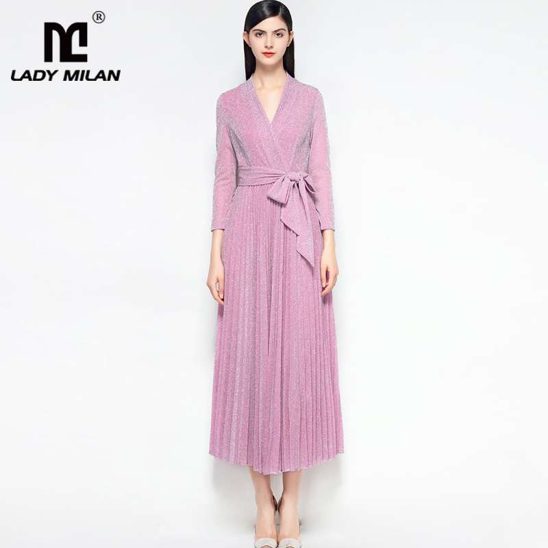 New Arrival 2018 Womens Sexy V Neck 3/4 Sleeves Pleated Sash Belt High Street Fashion Dresses in 2 Colors
