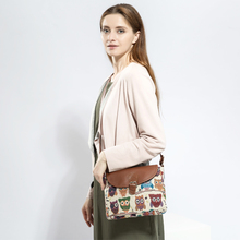 Women's Stylish Canvas Bag with Colorful Owls Themed Pattern