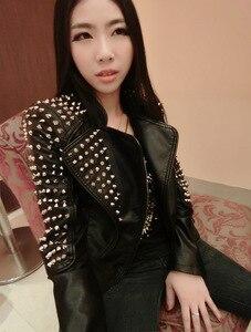 Image 2 - Casaco Feminino Kim Fashion Leather Jacket Spikes Stars Slim Bi metal Silver Rivet metallic jacket Pu Leather Coats Women