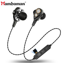 Mambaman HIFI Bluetooth earphone Double dynamic Wireless Earphone stereo bass sound Support SD Card with mic for mobile phone