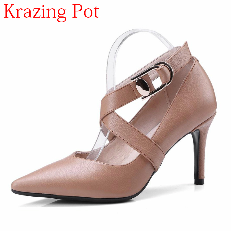 2018 Genuine Leather High Heels Shallow Women Pumps Pointed Toe Buckle Concise Style Nightclub Party Brand Wedding Shoes L2f2 new arrival genuine leather pointed toe high heels stiletto shallow metal buckle pumps slip on women brand wedding shoes l8f3