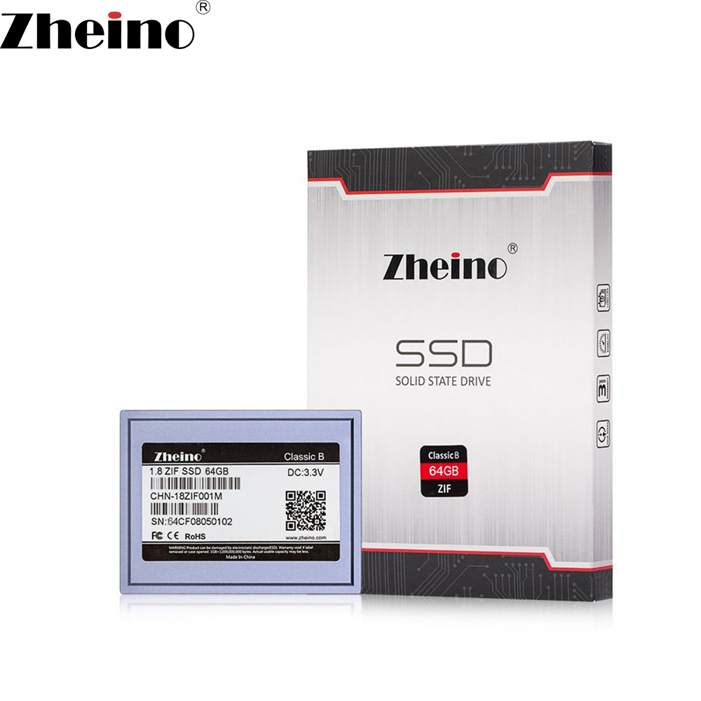 Zheino 1.8 Inch ZIF CE 64GB SSD (2D MLC NOT TLC) Solid State Drives for DELL D420 D430 HP1010TU Ipod classic 5.5th 6th 7th gen ksm zif 6 128ms 128gb zif ce interface ssd module for ipod classic 6th 7th gen classic video 5th 505th logic board free shipping