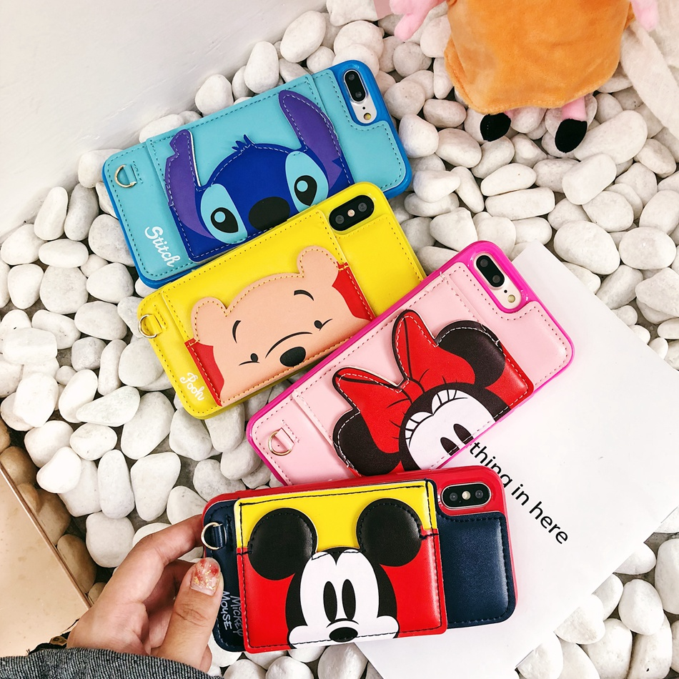 Mickey Minnie Luxury Cortical Support Card  Phone Case For iPhone X 7 8 Plus Soft silicone Back Cover For iPhone 6s 7 Plus Shell winnie the pooh iphone case