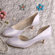 Wedopus Custom Wedding Guest Shoes White Satin Low Heel Pumps Size 9 Dropshipping