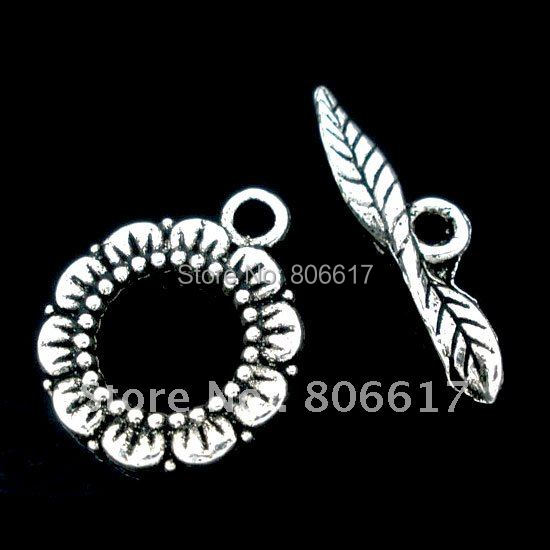 Best Quality 20 Sets Silver Tone Flower Design Toggle Clasps Fashion Accessory Jewelry Findings(W00666)