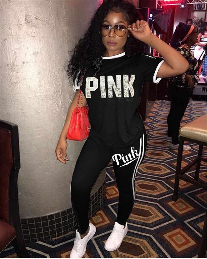 ワイン赤グレーブラック個セット女性の手紙プリントピンク衣装 2019 半袖 Tシャツ鉛筆のズボンスーツ 2 ピーストラックスーツ