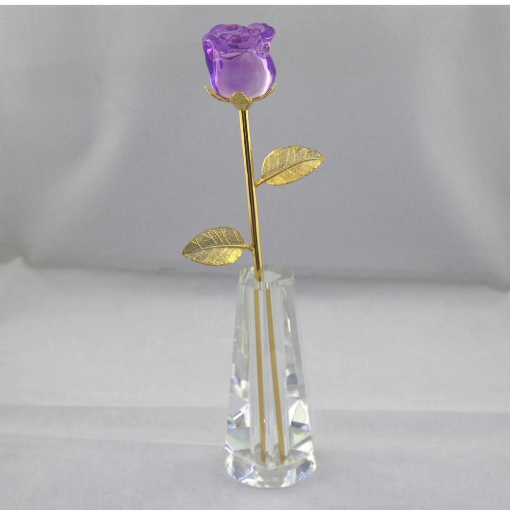 Aliexpress buy purple crystal rose flower with vase best aliexpress buy purple crystal rose flower with vase best valentines day gift birthday gift wedding and party decoration crystal flower from floridaeventfo Images